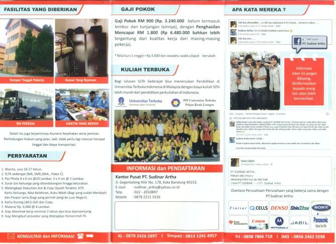 Lowongan pekerja pabrik di Malaysia (PT. Sudinar Arta Bandung)